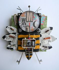 """""""Media Bug""""-Recycled art collage"""