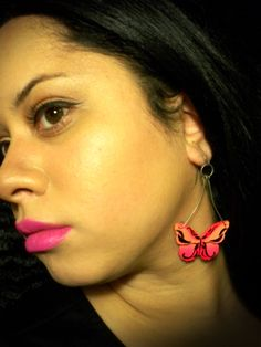 #Airbrushed & #Handpainted #earrings get it at my #Etsy shop: https://www.etsy.com/listing/183153470/butterfly-earrings-hand-painted-neon