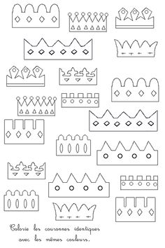 Find the pairs of crowns - Alice B - - Retrouve les paires de couronnes crowns of kings - Art For Kids, Crafts For Kids, Castle Party, Knight Party, Operation Christmas, Epiphany, Princess Party, Coloring Pages, Fairy Tales