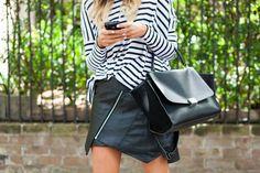 what-do-i-wear:    Ebony Eve T-shirt. Winston Wolfe leather skirt. MLM heels. Céline bag. (image:vogue)