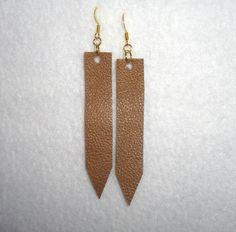 Handmade Leather Earrings Simple Dangle Boho Light Brown Essential Oil Diffuser #Handmade #DropDangle