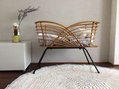 vintage french rattan crib