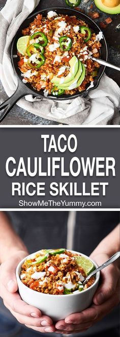 This Taco Cauliflower Rice Skillet is quick, easy, healthy, low carb, and absolutely delicious! Loaded with ground turkey or chicken, vegetables, and frozen cauliflower rice! showmetheyummy.com #cauliflowerrice #taco #Goingvegetarian