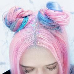 did a fun collab with @livecolouruk x @lookmagazine last month www.kaylahadlington.com @kaylahadlington #colour #color #dyedhair #pinkhair #hair #pink #livecolour  pastel glitter confetti hair