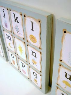 """DIY ... That's My Letter: """"A"""" is for Alphabet 'art' for kids room flash cards....don't put them in a drawer!  Make your flash cards from thin wood, make them pretty and hang them on a play board when not in use!   Beautiful!"""