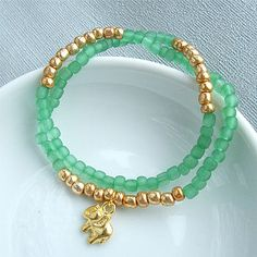Green And Gold Double Wrap Bracelet