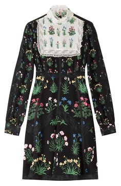 Having been inspired by the artistic and inspiring legacies of Emilie Flöge and Celia Birtwell, Valentino's new collection is pretty and feminine but bold and strong. This printed dress is made tough with a pitch black base, but still soft and delicate with a pleated white bib and a romantic lace trim #Stylebop