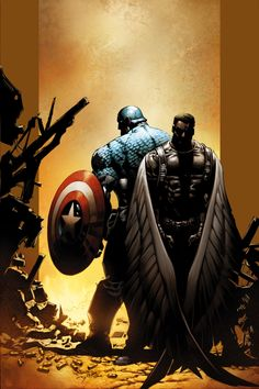 Captain America and Falcon by Mike Deodato Jr.