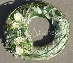 Olive Branch Wedding, Funeral Tributes, Modern Wreath, Wreaths And Garlands, Sympathy Flowers, Funeral Flowers, Bouquet, Grapevine Wreath, Flower Decorations