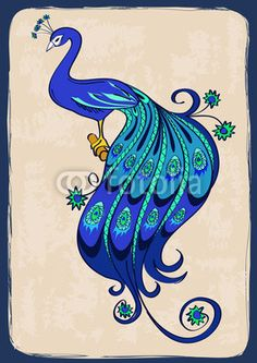 Vecteur : Illustration with stylized ornamental peacock