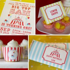 Circus custom birthday party printables.  Also love the lollies in cupcake cases.