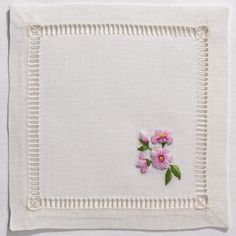 Cherry Blossom<br>Cocktail Set - Ivory In Stock Embroidery Stitches, Hand Embroidery, Embroidery Ideas, Wedding Cocktail Napkins, Embroidered Towels, Cloth Napkins, Cherry Blossom, Cross Stitch, Sewing