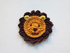 PDF Crochet Pattern - Lion Applique - Text instructions and SYMBOL CHART instructions - Permission to Sell Finished Items, via Etsy. Lion Crochet, Crochet Amigurumi, Cute Crochet, Crochet Animals, Crochet Crafts, Yarn Crafts, Crochet Projects, Knit Crochet, Appliques Au Crochet