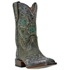 Dan Post Floral & Arrow Inlay Wingtip Cowgirl Boots - Square Toe 6?  Love!!! Run true to size?