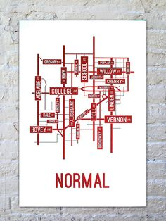 School Street Posters | Normal, Illinois Street Map Poster