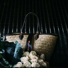 Handmade Basket With Straight Beading On Front Flap and Handles | Nabatea • Exotic Goods #fashion #accessories #bag #purse
