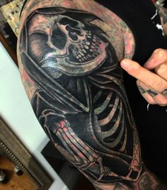 Grim reaper tattoo by Ussher Tattoo Blast Over Tattoo, Tribal Tattoos, Cool Tattoos, Grim Reaper Tattoo, Tattoo People, Cover Up Tattoos, Big Tattoo, Tattoo Inspiration, Tatting