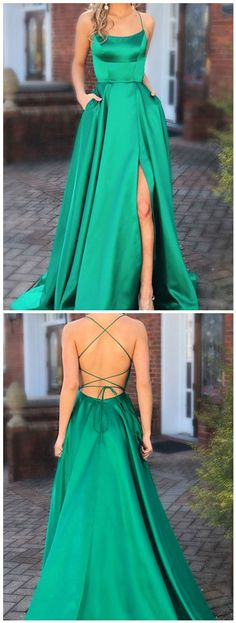 Green Prom Dresses with Pocket Long Backless Slit#prom #promdress #dress #eveningdress #evening #fashion #love #shopping #art #dress #women #mermaid #SEXY #SexyGirl #PromDresses