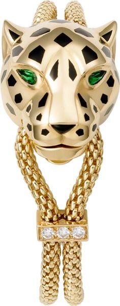 Panthère de Cartier bracelet Yellow gold, lacquer, diamonds, tsavorite garnet…