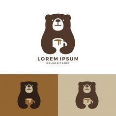 coffee logo Coffee bear logo hold mug logo. Logo Café, Logo Branding, Corporate Branding, Brand Identity Design, Branding Design, Logo Animal, Cafe Logos, Coffee Shop Logo, Negative Space Logos