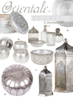 décoration orientale marocaine argent - but a brassy/gold version of everything! Morrocan Decor, Moroccan Bedroom, Moroccan Interiors, Moroccan Design, Moroccan Style, Entryway Decor, Bedroom Decor, Oriental Decor, Bohemian Decor