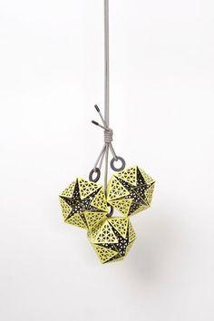 'The Lunatic Swing' Exhibition -  Melanie Isverding CAVEA (13) · Necklace · 2012 · Steel, enamel, pulverized hematite, crushed pearls, lacquer, silver, cotton string