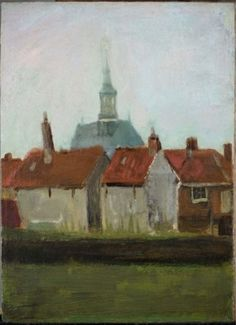 Vincent Van Gogh - New Church and old houses in The Hague, 1883