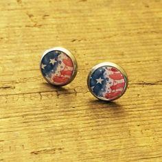 Patriotic Earrings American Flag Earrings by NomadicNationShop