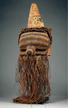 mask, Salampasu people of DR Congo woven natural fibers, pigment African Pottery, Tribal Costume, Art Premier, Head Mask, Africa Art, Beautiful Mask, Masks Art, African Masks, Weird Creatures