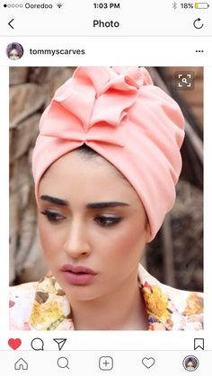 ready-to-wear Elegant fan-top turban in light Pink lycra. Great for evening-wear or special events. The turban is stretchy, light, and easy to wear! No tying involved, this turban is worn like a hat. Can be worn as a full or half head covering- tuck Mode Turban, Turban Hijab, Headdress, Headpiece, Hijab Abaya, Fascinator Hats, Fascinators, Hair Cover, Turban Style