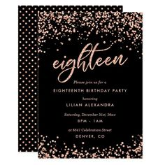 debut ideas Classy Birthday Party Invitations: Sparkly rose gold confetti birthday party invitation design featuring bright rose gold glitter look confetti polka dots. 18th Birthday Invites, 18th Birthday Party Themes, Birthday Party Invitations, Birthday Decorations, Diy Birthday, 18th Birthday Dress, Birthday Banners, Farm Birthday, Birthday Design
