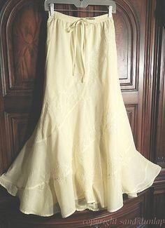 NEW Soft LEMON CHIFFON YELLOW ~Embroidered Peasant Prairie Boho Skirt