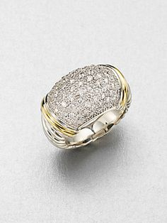 David+Yurman Diamond+Accented+18K+Gold+&+Sterling+Silver+Ring