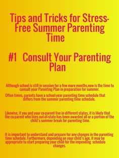 Tips for Summer Parenting Time