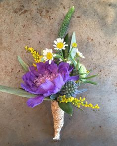 Lavender scabiosa boutonniere wrapped in twine! #twine #scabiosa #lavender #utahflorist #utahweddings