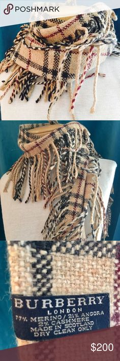 ⚜️Burberry fringed & fabulous⚜️ ⚜️Burberry fringed cashmere wool blend scarf⚜️ Burberry Accessories Scarves & Wraps