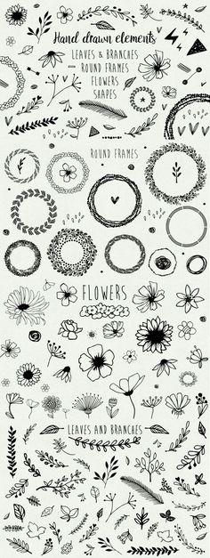 Bullet journal monthly cover page, April cover page, flower doodles, hand lettering. Doodle Drawings, Doodle Art, Doodle Frames, Mandala Doodle, Diy Tattoo, Tattoo Ideas, Wreath Tattoo, Tattoo Hand, Tattoo Fonts