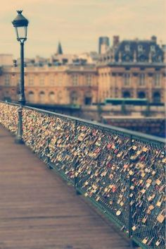 love bridge, Paris... I have heard of this... Love to go:) Courting couples lock their love together for eternity by attaching a padlock to the wrought-iron railings and throw the key in the Seine River.