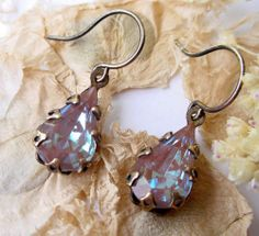 Saphiret Glass Earrings Vintage RARE Saphiret Sappharine Glass and Brass | eBay