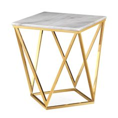 Library/Office - Gold and marble side table