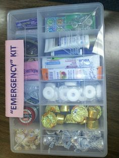 "Teacher gift or fill with other ""emergency items"" for a fun gift idea!"