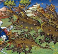 Two-headed multi-eyed dragons, Le Livre et le vraye hystoire..., France 1420 BL, Royal 20 B XX, f. 83v) @BLMedieval