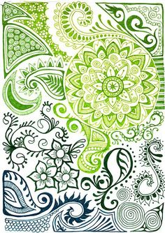 Beautiful Zentangle print with indian henna designs. I think a henna design tattoo draped over my shoulder would be gorgeous.