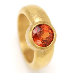 #Ring, 22ct #gold with mandarin #garnet by Tina Engell http://www.fldesignerguides.co.uk/engagement-ring-designer/tina-engell