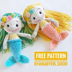 Learn how to crochet this cute gnome using a FREE amigurumi pattern with step-by-step tutorial. The pattern is easy to intermediate crochet crafters. Cute Mermaid, Mermaid Dolls, Cute Crochet, Crochet Dolls, Craft Patterns, Doll Patterns, Amigurumi Animals, Doll Amigurumi Free Pattern, Little Girl Gifts
