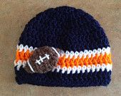 Chicago Bears Inspired Hat Baby Newborn Infant Crochet Boy Girl Blue Orange Football NFL Photography Photo Prop Made To Order