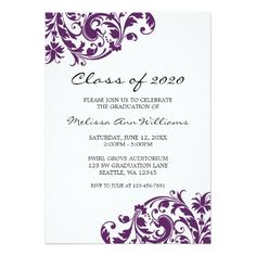 138 best purple graduation invitations images on pinterest in 2018