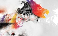 Famous illustrator Gabriel Moreno pays a tribute to feminity with large-scale art showcasing intricate, sensuous and vibrant portraits of women. Gabriel, Watercolor Illustration, Watercolor Tattoo, Illustration Artists, Albin Michel Jeunesse, Large Scale Art, Ghost In The Machine, Portraits, Spanish Artists