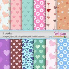 "heart decoration ""HEART"" digital scrapbook paper printable 12x12 valentines love pattern background by Selegan on Etsy"