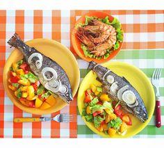 #обед #овощи #салат #форель #рыба #креветки #fish #seafood #salad #food
